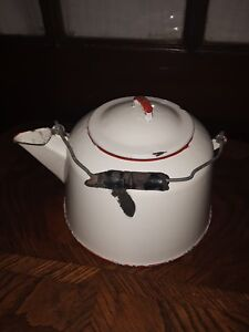 Antique White Enamel 1 Gallon Tea Kettle With Red Trim Accent Color