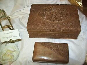 Antique Hand Carved Walnut Jewelry Box Set Large Small With Blue Velvet Lined