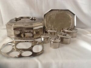 8x 6 Antique Middle East Islamic Silver Plate Spice Pail Box Tin