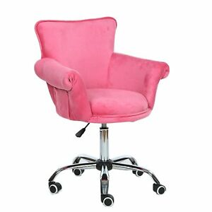 Pink Desk Chair Deluxe Office Girls Woman Seat Stool Vanity Beauty Office Chair