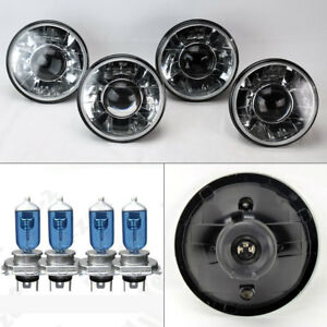 Four 5 75 5 3 4 Round H4 Clear Projector Glass Headlights W Bulbs Set Chevy