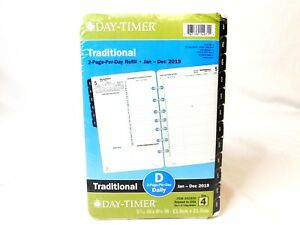 Day timer 2019 Daily Planner Refill 5 7 16 X 8 1 2 2 Page Per Day Refill New