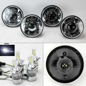 Four 5 75 5 3 4 Round H4 Clear Projector Headlights W 36w Led H4 Bulbs Plymout