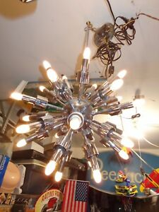 Antique Vintage Original Sputnik Space Age Lightolier Chrome Chandelier Lamp