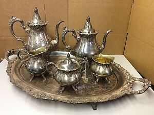 8 Piece Antique Silverplate Baroque By Wallace Tea Set With Leaf Sugar Tongs