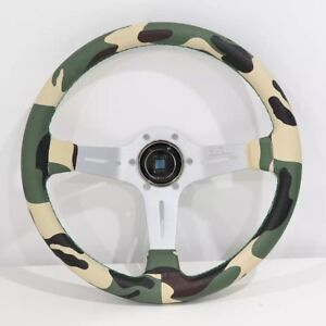 Nd Jdm Style 14 350mm Camouflage Leather Deep Dish Racing Steering Wheel W Horn