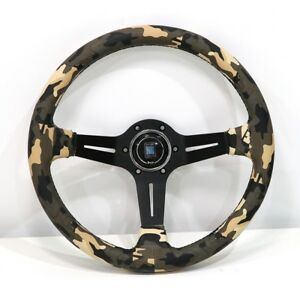 Nardi Style 14 350mm Dark Camo Leather Deep Dish Racing Steering Wheel W Horn