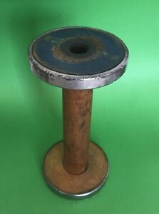 10 1 4 Antique Primitive Wood Metal Spool Bobbin Textile Industrial