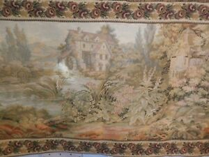 Vintage French Gobelin Verdure Gardens Tapestry Wall Hanging 110 Cm X 60 Cm