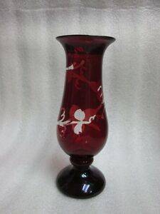 Antique Ruby Flashed Bristol Glass Bud Flower Vase Victorian Clear Ivy
