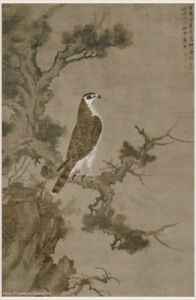 Chinese Antique Painting On Silk Eagle Standing On An Old Cypress Tree In Winter