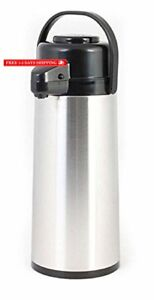 3 Liters 101 Ounces Glass Lined Airpot Hot Coffee Dispenser Stainless Steel Blac