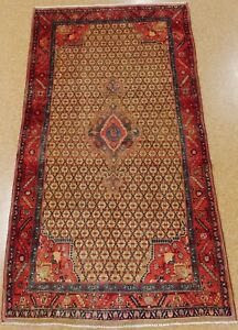 Persian Songhor Tribal Hand Knotted Wool Camel Red Notable Oriental Rug 5 X 10