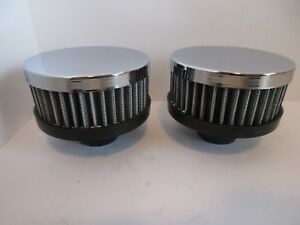 Chrome Washable Valve Cover Breather Push In Style 1 1 4 Hole Short Pair 7192 2