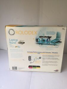 Rolodex Laptop Stand Punched Out Gun Metal And Black Wood 82448 New