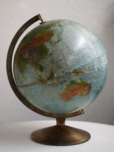 Vintage Relief Scan Globe As Denmark For Restauration Or Showcase