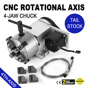 Cnc Router Rotational Rotary Axis 4 jaw 4th axis Self centering Tail Stock