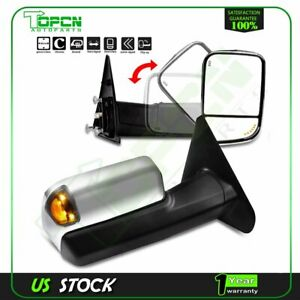 1pair Power Heated Tow Mirrors Fit 2002 08 Dodge Ram 1500 2500 3500 Turn Signal
