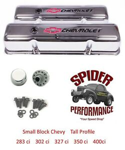 65 86 Impala Monte Carlo Caprice Small Block Chrome Bowtie Tall Valve Cover Kit