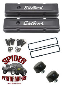 Chevy 283 327 305 350 400 Small Block Tall Valve Cover Kit Black Steel