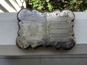 Ornate Monogramed Antique Victorian Art Nouveau Sterling Silver Card Case Holder