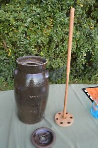 Antique 5 Gallon Churn With Dasher Pottery Crock Believe Catawba Pottery