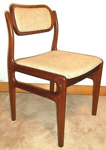 Set Of 4 Mid Century Danish Modern Rosewood Eames Wegner Upholstered Chairs