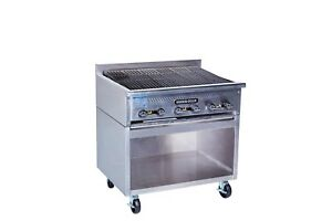 Rankin delux Rb 836 f c ss Commercial Radiant Gas Charbroiler W Ss Cabinet Base