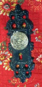 Cast Iron Door Plate With A Glass Acrylic Knob In Glossy Dark Blue Finish