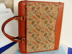 Monarch 1 5 Rings Brown Leather tapestry Franklin Covey Planner binder Handles