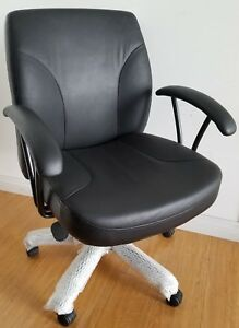 Brand New Genuine Leather Office Chair Mid Back Black Leather local Pickup Only