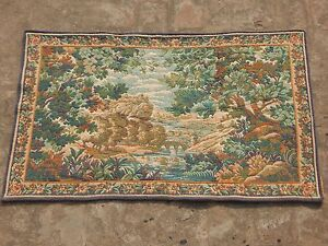 Vintage French Beautiful Verdure Tapestry 95x58cm A1102