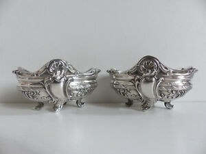 Superb Pair Of French Antique Solid Silver 950 Salt Cellars 1890 S
