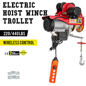 Electric Wire Rope Hoist W Trolley 220lb 440lb Industrial Copper 12m 40ft