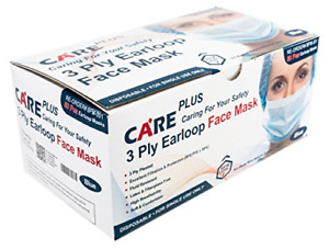 Care Plus Disposable Face Mask 3 Ply Pleated Earloop Blue 100 Pc 2 Boxes