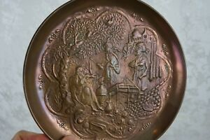 Antique 19th Century Arts And Crafts Repousse Copper European Castle Wall Plate
