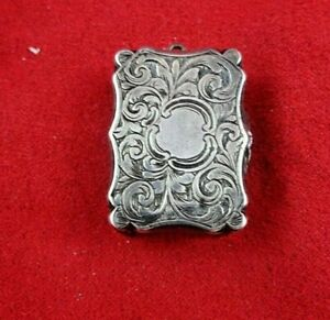 Antique English Sterling Silver Vinaigrette Gold Washed Inside 5003