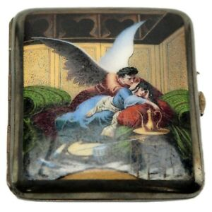 Antique Silver Enamel European Cigarette Case