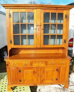 Vintage Pine Cabinet Step Back Cupboard Kitchen Hutch Display Sideboard
