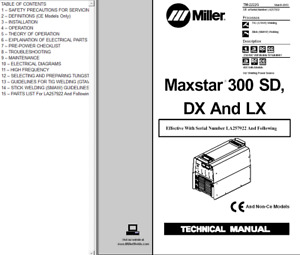 Miller Maxstar 300 Sd Dx And Lx Service Technical Manual