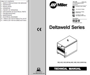Miller Deltaweld Series 302 452 652 402 602 852 Service Technical Manual