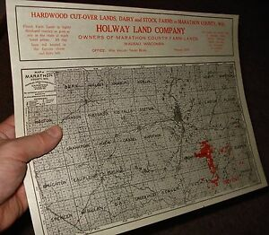 Antique Wausau Wi Holway Land Company Plat Map