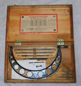 Starrett Micrometer Caliper No 224f Set C Range 9 12 Complete In Wood Box