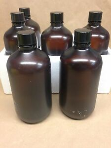 6 Wheaton Boston Round Bottles Amber Glass Safety Rubber Coated 32oz Nib
