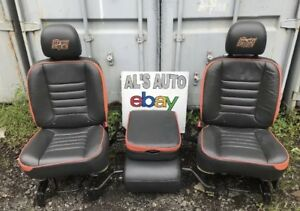02 08 Dodge Ram Seats Hemi Gtx Black Leather Orange Trim Manual Console Oem