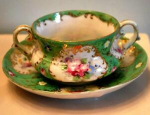 Antique Victorian Two Handled Cup Saucer Set Hand Painted Porcelain W Gold