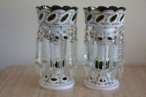 1930s Pair Bohemian White Overlay Cut To Green Glass Mantel Luster Lamp W Prisms