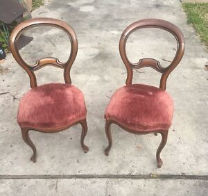 Victorian Style Baloon Back Chairs Walnut Upholstered