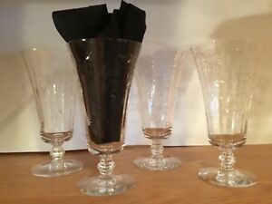 Vintage Water Wine Glasses Stemware Cut Crystal Grapes Leaves Set Of 4