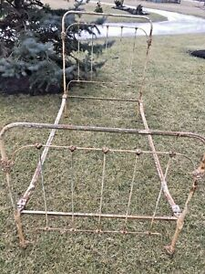 Antique Victorian Cast Metal Wrought Iron Twin Size Bed Frame W Rails